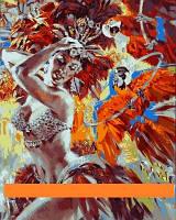 "Картина по цифрам Турбо ""Танцовщица и яркие попугаи Худ Алексей Лашкевич""  40 х 50 см"