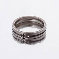 """Кольцо """"Обручка"""" черная полоска р-р 16-20 двойное """"серебро""""  h-4мм"""