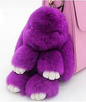 Мягкая игрушка кролик натуральный мех фиолетовый