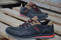 Мужские кожаные кроссовки  Сolumbia ( спортивные туфли) черные