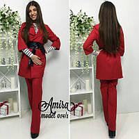 Женский строгий костюм с поясом, кардиган+брюки, в расцветках