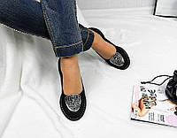 Женские туфли VERSACE, натуральный замш, черные / туфли женские низкие, удобные, высокое качество