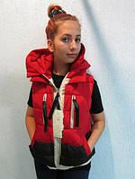 Женская жилетка Х 928 красная с черным код 686А