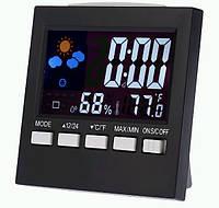 Термометр-гігрометр погодна станція годинник і календар настільний з чорним жк екраном з підсвічуванням SKU0000619