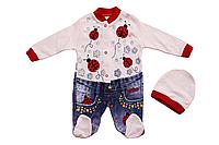 Человечек комбинезон для новорожденных с шапочкой 56/62 см красный