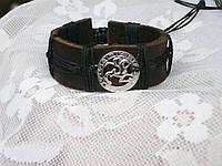 Кожаный браслет на руку знак зодиака ОВЕН в подарок, ручная работа, ювелирная бижутерия