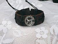 Кожаный браслет на руку знак зодиака СТРЕЛЕЦ в подарок, ручная работа, ювелирная бижутерия