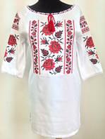 Женское вышитое платье для полных  Маричка размера  42,  44, 46, 48, 50, 52, 54, 56 из льна