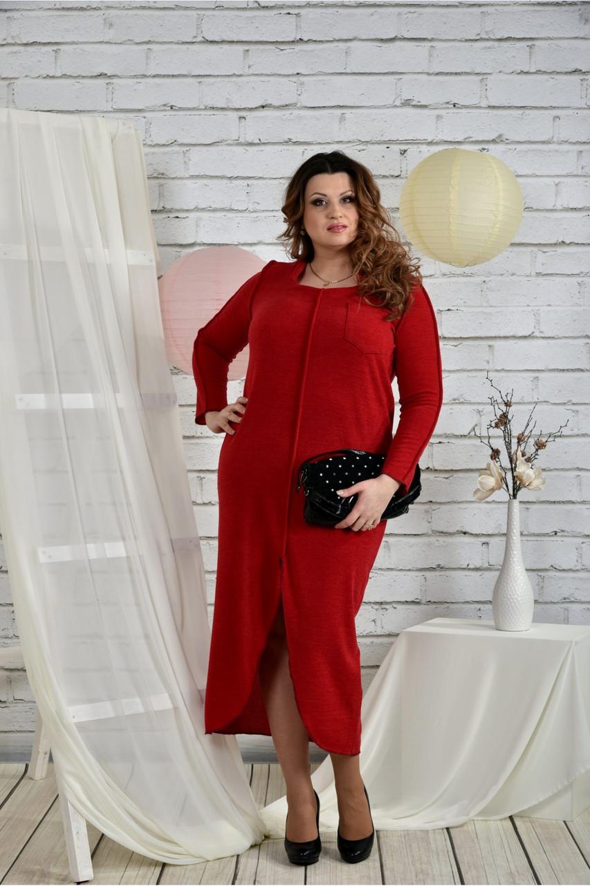 Женское платье из ангоры 0443 цвет красный размер 42-74 / батальное