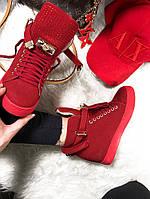 Женские  сникерсы на танкетке 6 см, эко замша, красные / кроссовки  сникерсы женские на шнуровке,  модные