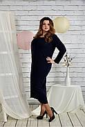 Женское платье из ангоры 0443 цвет синий размер 42-74 / батальное, фото 2
