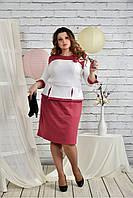 Женское платье для праздника 0442 цвет фрез размер 42-74 / батальное