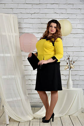Женское платье для праздника 0442 цвет желтый размер 42-74 / батальное, фото 2