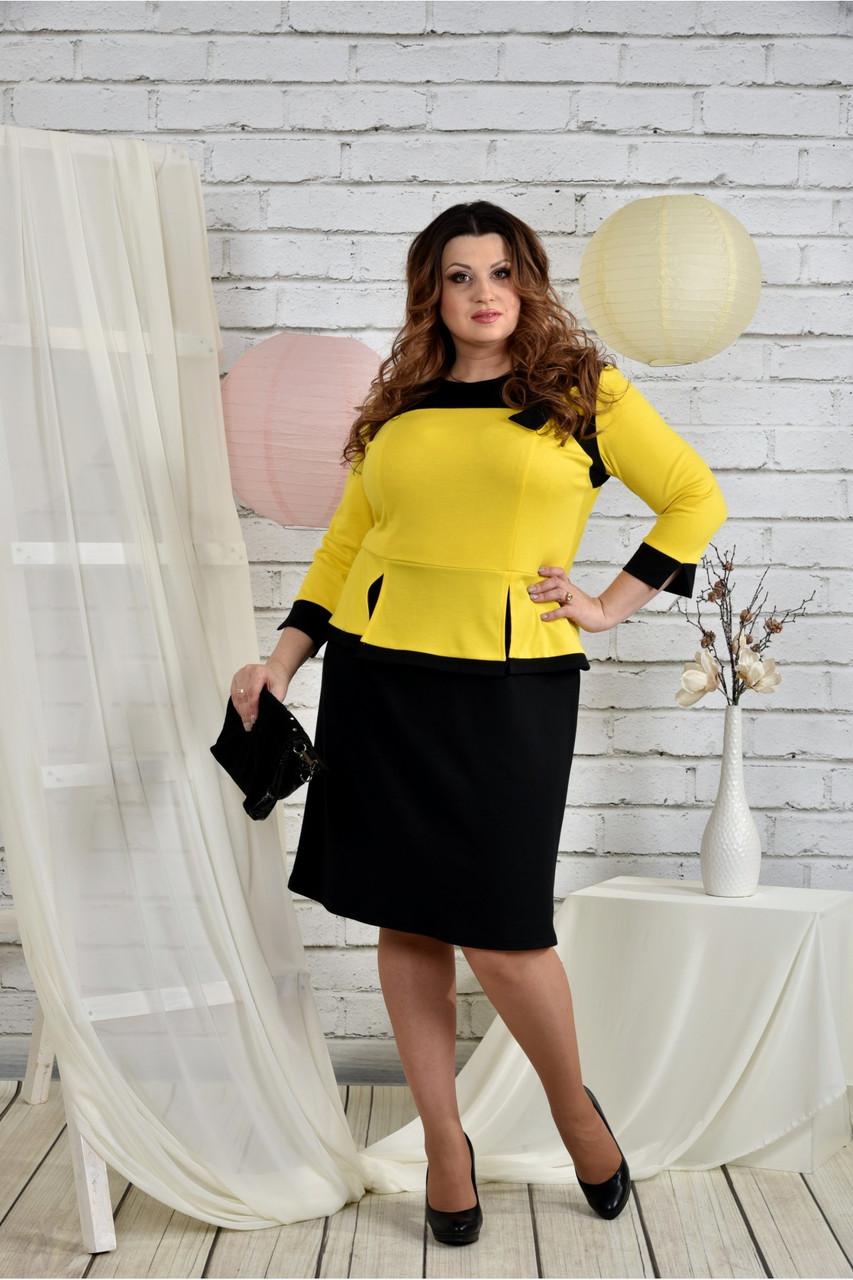 Женское платье для праздника 0442 цвет желтый размер 42-74 / батальное