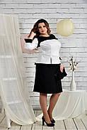Женское платье для праздника 0442 цвет черно - белый размер 42-74 / батальное, фото 3