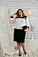 Женское платье для праздника 0442 цвет черно - белый размер 42-74 / батальное