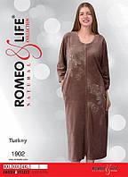 """Велюровый халат больших размеров р-ры 2XL,3XL,4XL """"Romeo&Life"""" Турция"""
