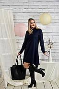 Женское платье свободного кроя 0433 цвет синий размер 42-74 / батальное, фото 3