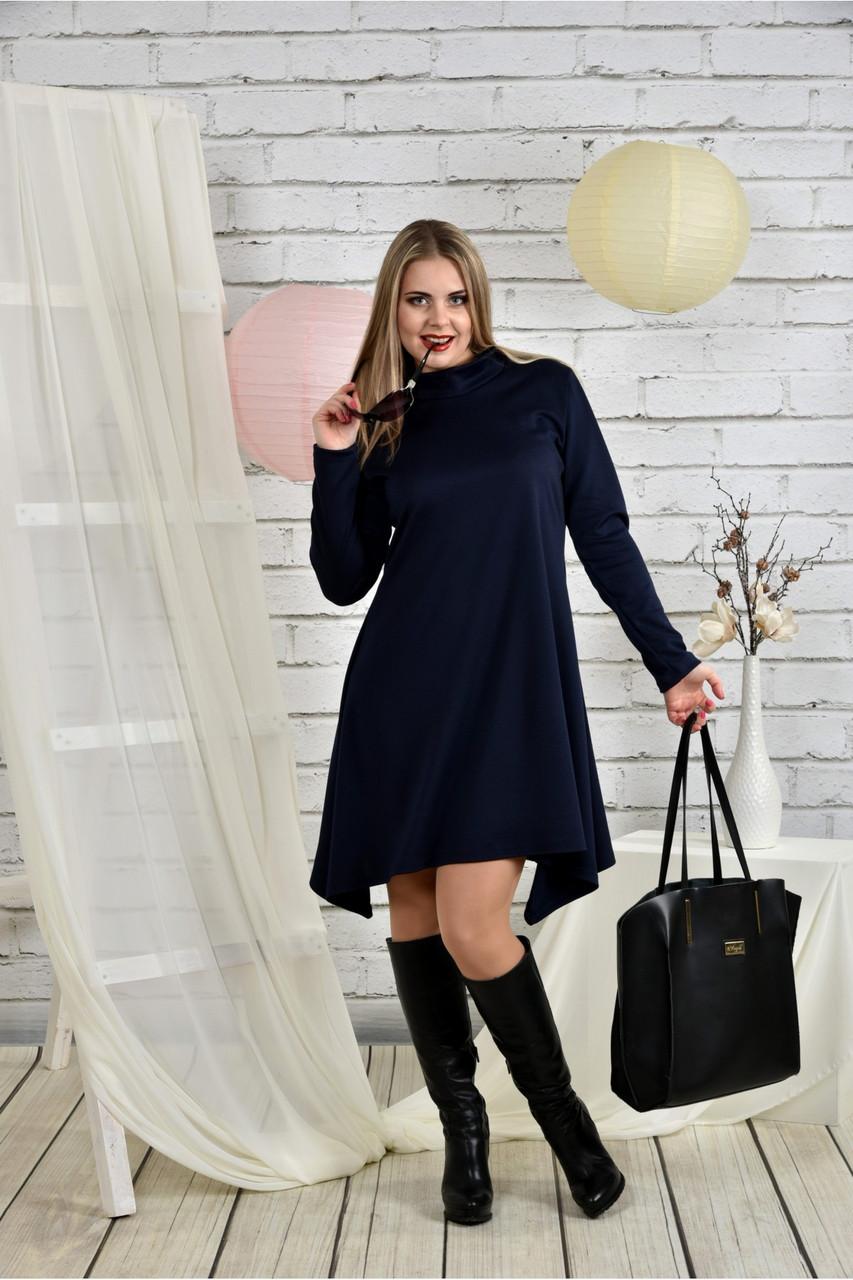 Женское платье свободного кроя 0433 цвет синий размер 42-74 / батальное