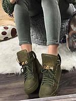 Женские  сникерсы на танкетке 6 см, эко замша, зеленые / кроссовки  сникерсы женские 2017,  удобные и стильные