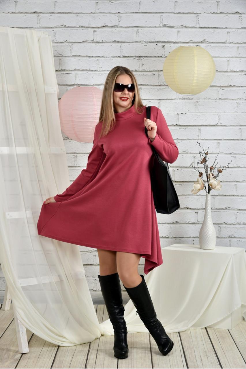 Женское платье свободного кроя 0433 цвет фрез размер 42-74 / батальное