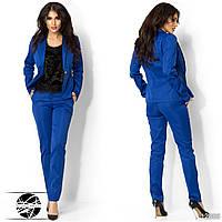 Женский брючный костюм с пиджаком цвета электрик. Модель 12885.