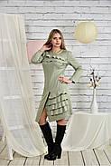Женское платье с рюшами 0432 шалфей размер 42-74, фото 3