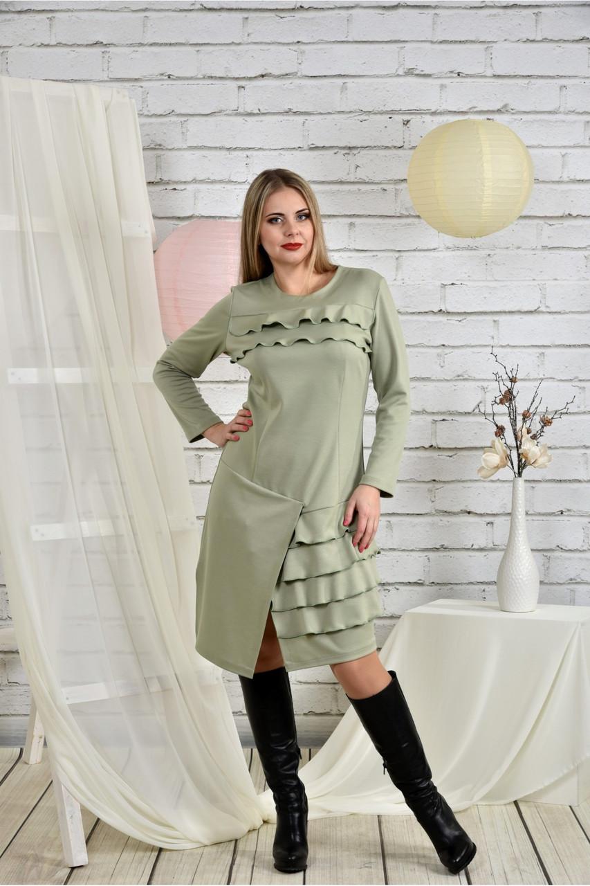 Женское платье с рюшами 0432 шалфей размер 42-74