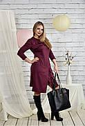 Женское платье с рюшами 0432 цвет бордо размер 42-74, фото 2