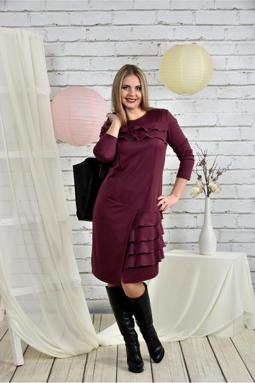 Женское платье с рюшами 0432 цвет бордо размер 42-74