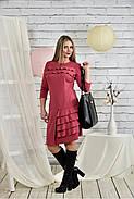 Женское платье с рюшами 0432 цвет фрез размер 42-74, фото 2