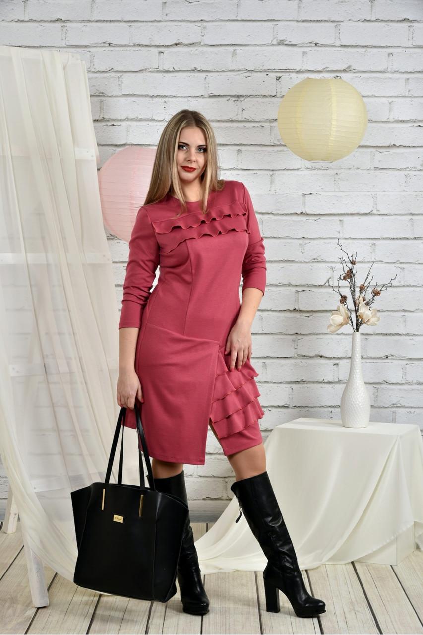 Женское платье с рюшами 0432 цвет фрез размер 42-74