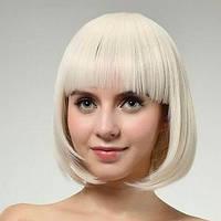 Парик каре прямой с челкой искусственный блонд