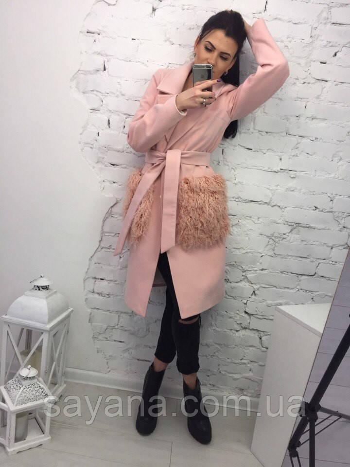 """Женское пальто """"Lama"""" с меховыми карманами в расцветках. МА-1-0219"""