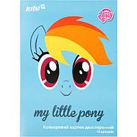 LP17-255 Картон цветной двусторон. А4 (10лист/10цвет) KITE 2017 My Little Pony 255, фото 1