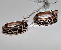 Серьги серебряные позолоченые с цветной эмалью Клеопатра