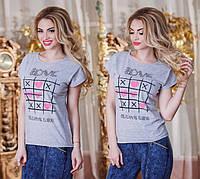 """Летняя свободная женская футболка 2896 """"LOVE"""" в расцветках"""