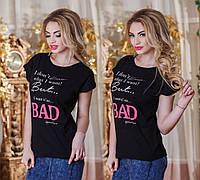 """Летняя свободная женская футболка 2891 """"BAD"""" в расцветках"""