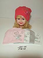 Детская шапка для девочки тонкая вязка Сердечки со стразами р. 46-48