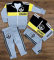 """Теплый спортивный костюм """"Adidas"""", с начесом,  рост от 86 до 116 см"""