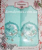 """Подарочный набор махровых полотенец 3D """"Бабочка"""" Vianna, Турция, бирюзовый цвет"""