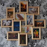 Декоративная рамка на стену на 12 фотографий. цвет дерево