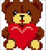 Набор для изготовления картины со стразами (наклейка) Медвежонок с сердцем Размер: 9*9 см