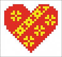 Набор для вышивания алмазной картины (наклейка) Сердечко с орнаментом Артикул: 198546 Размер: 9*9 см