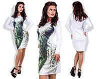 Платье женское короткое из дайвинга «Павлин» P5579
