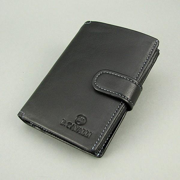 Кошелек мужской кожаный черный паспорт B. Cavalli