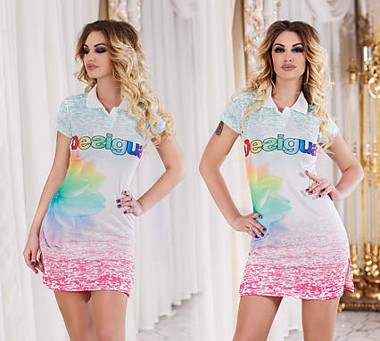 """Летнее женское стильное короткое платье 3263 """"DESIGUAL"""""""