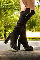 Ботфорды в черной замше на высоком каблуке коллекция осень-зима 2016-2017, М-16073 TM Gino Figini г. Днепропетровск М-16073