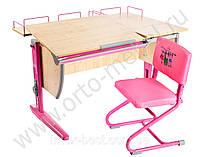 Стол СУТ.17.04 + Тумба навесная ТСН.01-01 + Полка задняя СУТ.15.210 (2 шт.) клен/розовый