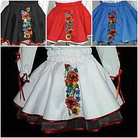 Белая габардиновая юбка с вышивкой для девочки, 3-12 лет, 210/185 (цена за 1 шт. + 25 гр.), фото 1
